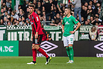 02.11.2019, wohninvest WESERSTADION, Bremen, GER, 1.FBL, Werder Bremen vs SC Freiburg<br /> <br /> DFL REGULATIONS PROHIBIT ANY USE OF PHOTOGRAPHS AS IMAGE SEQUENCES AND/OR QUASI-VIDEO.<br /> <br /> im Bild / picture shows<br /> Janik Haberer (SC Freiburg #19), <br /> Marco Friedl (Werder Bremen #32), <br /> <br /> Foto © nordphoto / Ewert