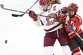 Danielle Welch (BC - 17), Amanda Boulier (SLU - 8) - The Boston College Eagles defeated the visiting St. Lawrence University Saints 6-3 (EN) in their NCAA Quarterfinal match on Saturday, March 10, 2012, at Kelley Rink in Conte Forum in Chestnut Hill, Massachusetts.