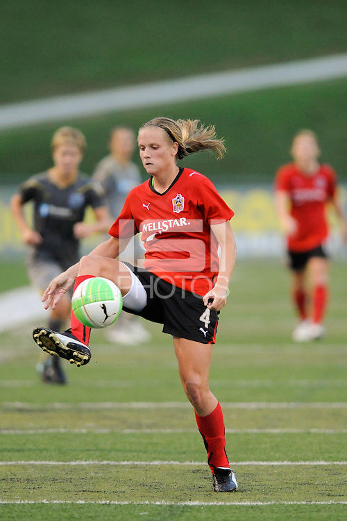Stacy Bishop (4) of the Atlanta Beat. The Philadelphia Independence defeated the Atlanta Beat 3-2 during a Women's Professional Soccer (WPS) match at John A. Farrell Stadium in West Chester, PA, on August 15, 2010.