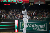 New York Yankees relief pitcher Aroldis Chapman (54) celebrates his team's victory against the Washington Nationals at Nationals Park in Washington, D.C. on Monday, June 18, 2018.  This is the make-up game that was scheduled to be played on May 16, 2018 that was postponed due to rain.  The Yankees won the game 4 - 2.<br /> Credit: Ron Sachs / CNP<br /> (RESTRICTION: NO New York or New Jersey Newspapers or newspapers within a 75 mile radius of New York City)