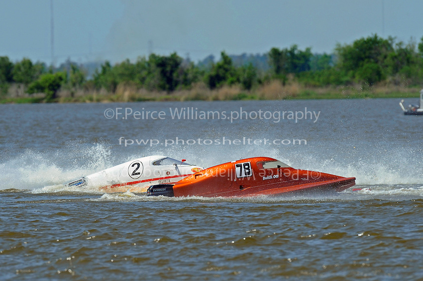 Frame 15: Leader Butch Ott, (#78) is tagged by Travis Thompson, (#2) and spins into the bouy.  (SST-45 class)..