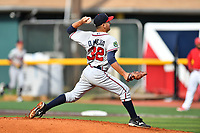 Danville Braves starting pitcher Dilmer Mejia (32) delivers a pitch during a game against the  Johnson City Cardinals at TVA Credit Union Ballpark on July 23, 2017 in Johnson City, Tennessee. The Cardinals defeated the Braves 8-5. (Tony Farlow/Four Seam Images)