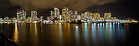 The city lights and skyline of Waikiki, Honolulu, O'ahu.