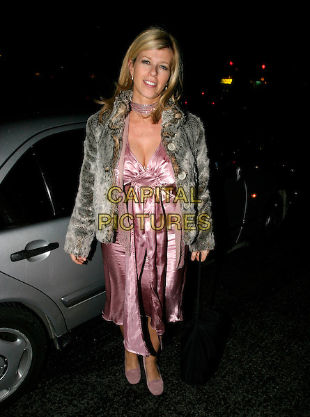 KATE GARRAWAY .The Mail On Sunday: Live - magazine relaunch party..Bluebird, King's Road, London, UK..October 18th, 2005.Ref: AH.full length fur coat purple dress silk satin.www.capitalpictures.com.sales@capitalpictures.com.© Capital Pictures.