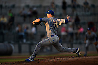 Starting pitcher Jon Heasley (16) of the Lexington Legends pitches into the sun in a game against the Columbia Fireflies on Friday, May 3, 2019, at Segra Park in Columbia, South Carolina. Lexington won, 5-2. (Tom Priddy/Four Seam Images)
