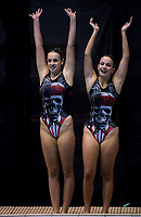 Isobel Pettit (left) and Eden Worsley (Tauranga). Day One of the 2018 North Island Synchronised Swimming Championships at Wellington Regional Aquatics Centre in Wellington, New Zealand on Saturday, 19 May 2018. Photo: Dave Lintott / lintottphoto.co.nz