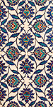 Iznik 09 - Stylized flower and leaf motifs on Iznik tiles in Rustem Pasa Mosque, Eminonu, Istanbul, Turkey