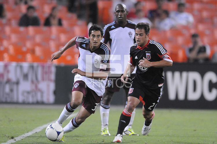 Colorado Rapids midfielder Tony Cascio (32) keeps possession of the ball against D.C. United midfielder Danny Cruz (2) D.C. United defeated the Colorado Rapids 2-0 at RFK Stadium, Wednesday May 16, 2012.