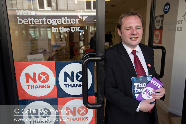 Richard Baker, a member of the Scottish parliament for the country's North East region, posing outside the anti-independence Better Together office in Union Street, in Aberdeen, the country's oil and gas industry centre. Issues surrounding oil and gas has been one of the key political battlegrounds between supporters of Scottish independence and those who prefer Scotland to remain within the United Kingdom. On the 18th of September 2014, the people of Scotland voted in a referendum to decide whether the country's union with England should continue or Scotland should become an independent nation once again and leave the United Kingdom.
