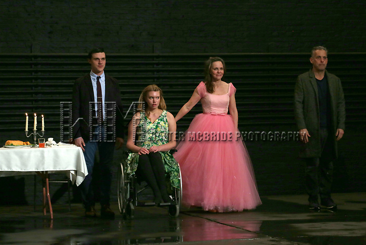 """Finn Wittrock, Madison Ferris, Sally Field and Joe Mantello during the Broadway Opening Night Performance Curtain Call Bows for """"The Glass Menagerie'"""" at the Belasco Theatre on March 9, 2017 in New York City."""