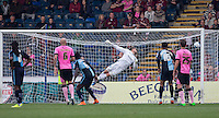 Goalkeeper Matt Ingram of Wycombe Wanderers can only watch as Marc Richards (not pictured) of Northampton Town scores from a free kick during the Sky Bet League 2 match between Wycombe Wanderers and Northampton Town at Adams Park, High Wycombe, England on 3 October 2015. Photo by Andy Rowland.