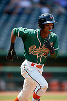 Greensboro Grasshoppers second baseman Jose Devers (2) runs to first base during a game against the Lakewood BlueClaws on June 10, 2018 at First National Bank Field in Greensboro, North Carolina.  Lakewood defeated Greensboro 2-0.  (Mike Janes/Four Seam Images)
