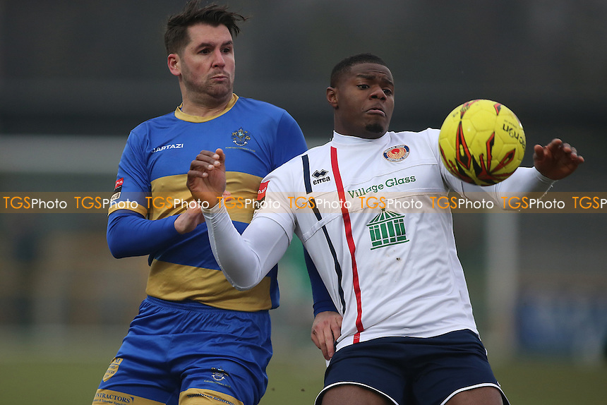 Chris Taylor of Romford and James Regis of Witham during Romford vs Witham Town, Ryman League Division 1 North Football at Ship Lane on 11th February 2017