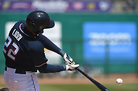 NWA Democrat-Gazette/J.T. WAMPLER Naturals' Alex Liddi hits a home run in the seventh inning against San Antonio Tuesday April 10, 2018 at Arvest Ballpark in Springdale. The Naturals won 4-0.