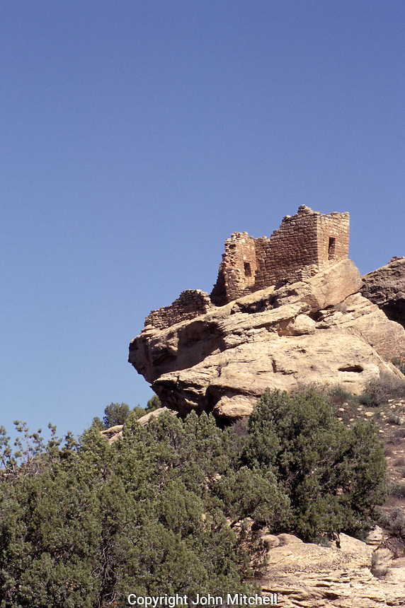 Ancient Anasazi sandstone tower at Hovenweep National Monument on the border of Colorado and Utah