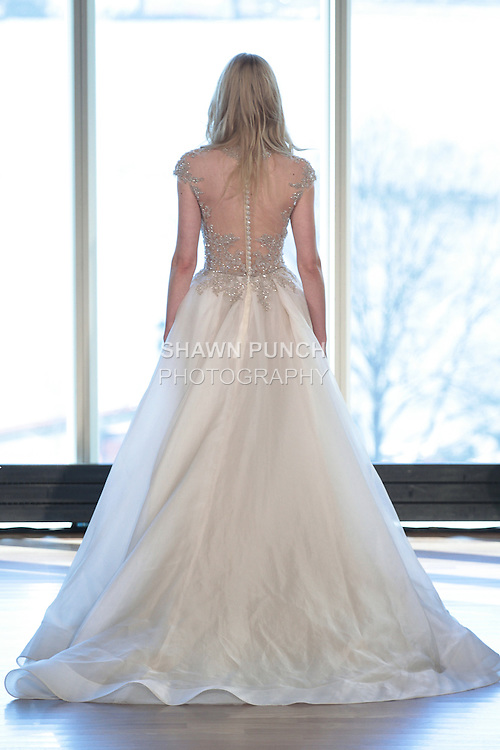 "Model Petra walks runway in a ""Hendrix"" bridal gown from the Rivini Spring Summer 2017 bridal collection by Rita Vinieris at The Standard Highline Room, during New York Bridal Fashion Week on April 15, 2016."