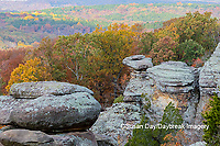 63895-16405 Camel Rock in fall color Garden of the Gods Recreation Area Shawnee National Forest IL