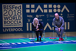 Everton Chief Executive Professor Denise Barrett-Baxendale takes on Liverpool Chief Executive Peter Moore.<br /> BISFed 2018 World Boccia Championships <br /> Exhibition Centre Liverpool<br /> 15.08.18<br /> &copy;Steve Pope<br /> Sportingwales