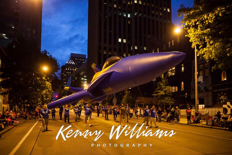 Blue Angels Balloon Float at Night, Seafair Torchlight Parade 2015, Seattle, Washington State, WA, America, USA.
