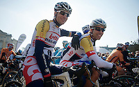 111th Paris-Roubaix 2013..Jürgen Roelandts (BEL) &  Jens Debusschere (BEL) at the start.
