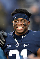 STATE COLLEGE, PA - NOVEMBER 24: Penn State CB Amani Oruwariye (21) smiles for a photo before the Maryland Terrapins vs. the Penn State Nittany Lions November 24, 2018 at Beaver Stadium in State College, PA. (Photo by Randy Litzinger/Icon Sportswire)