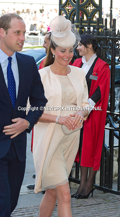 KATE, DUCHESS OF CAMBRIDGE<br /> joined The Queen and other members of the Royal Family for  A Service to Celebrate the 60th Anniversary of the Coronation Service at Westminster Abbey, London_04/06/2013<br /> Members of the Royal Family attending the Service included The Prince of Wales and The Duchess of Cornwall, The Duke and Duchess of Cambridge, Prince Henry of Wales, The Duke of York and Princesses Beatrice and Eugenie, The Earl and Countess of Wessex and The Lady Louise Mountbatten-Windsor, The Princess Royal, Vice Admiral Sir Tim Laurence, Peter Phillips and Autumn (Kelly) Phillips, Zara (Phillips) Tindall and Mike Tindall, The Duke and Duchess of Gloucester, The Duke and Duchess of Kent, Prince and Princess Michael of Kent<br /> Mandatory Credit Photo: &copy;Francis Dias/NEWSPIX INTERNATIONAL<br /> <br /> **ALL FEES PAYABLE TO: &quot;NEWSPIX INTERNATIONAL&quot;**<br /> <br /> IMMEDIATE CONFIRMATION OF USAGE REQUIRED:<br /> Newspix International, 31 Chinnery Hill, Bishop's Stortford, ENGLAND CM23 3PS<br /> Tel:+441279 324672  ; Fax: +441279656877<br /> Mobile:  07775681153<br /> e-mail: info@newspixinternational.co.uk
