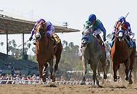 April 7, 2012. I'll Have Another and Mario Gutierrez(left) win the Santa Anita Derby(GI) at Santa Anita Park in Arcadia, CA.