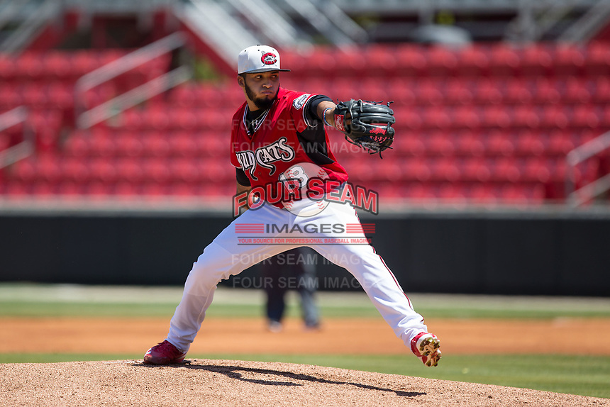 Carolina Mudcats starting pitcher Marcos Diplan (18) in action against the Winston-Salem Dash at Five County Stadium on May 14, 2017 in Zebulon, North Carolina.  The Mudcats walked-off the Dash 11-10.  (Brian Westerholt/Four Seam Images)