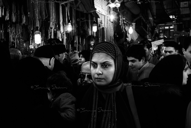 Teheran, Iran, March 19, 2007.A chaotic crowd swarms the popular Tajrish market to buy presents and food for Norouz, the upcoming Iranian new year celebration on March 21st.