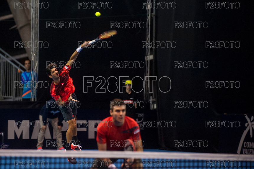 VALENCIA, SPAIN - OCTOBER 28: Thomaz Bellucci and Colin Fleming during Valencia Open Tennis 2015 on October 28, 2015 in Valencia , Spain