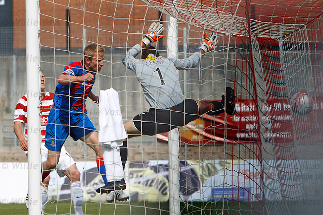 Richie Foran heads past Hamilton keeper Tomas Cerny from close range to open the scoring for Inverness