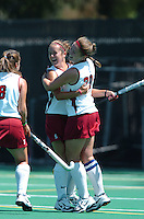 26 August 2006: Stanford Cardinal Bailey Richardson, left, and Aska Sturdevan (20) during Stanford's 2-1 win against Massachusetts Amherst at the Varsity Field Hockey Turf in Stanford, CA.