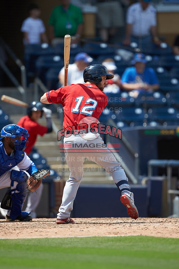 Mike Papi (12) of the Columbus Clippers at bat against the Durham Bulls at Durham Bulls Athletic Park on June 1, 2019 in Durham, North Carolina. The Bulls defeated the Clippers 11-5 in game one of a doubleheader. (Brian Westerholt/Four Seam Images)