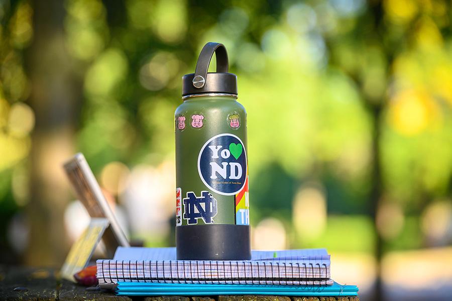 "September 16, 2019; ""Yo (heart) ND"" water bottle (Photo by Matt Cashore/University of Notre Dame)"