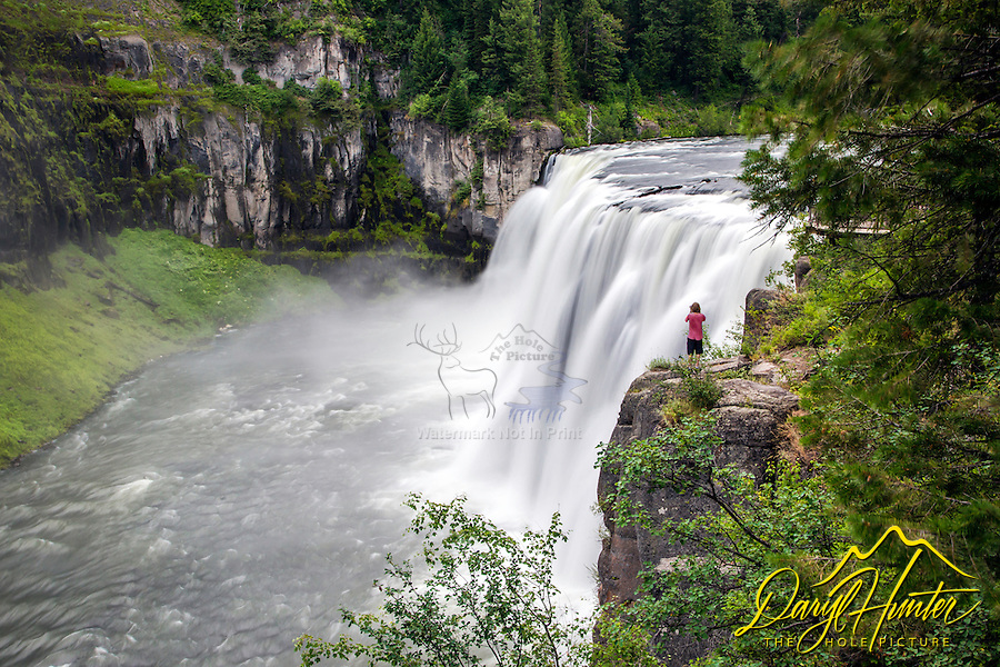 Photographer shooting Upper Mesa Falls in Island Park Idaho.
