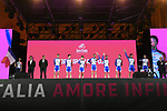 Groupama-FDJ on stage at the Teams Presentation held in Piazza Maggiore Bologna before the start of the 2019 Giro d'Italia, Bologna, Italy. 9th May 2019.<br /> Picture: Fabio Ferrari/LaPresse | Cyclefile<br /> <br /> All photos usage must carry mandatory copyright credit (&copy; Cyclefile | Fabio Ferrari/LaPresse)