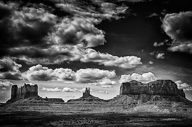 Black and white image of Monument Valley, Utah