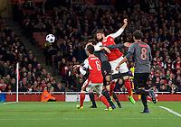 Olivier Giroud of Arsenal puts his header wide during the UEFA Champions League round of 16 match between Arsenal and Bayern Munich at the Emirates Stadium, London, England on 7 March 2017. Photo by Alan  Stanford / PRiME Media Images.