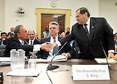 Washington, DC - July 31, 2008 -- New York City Mayor Michael Bloomberg, left, and United States Representatives Jerrold Nadler (Democrat of New York) shake hands as United States Representatives Peter King, center, looks on after giving testimony before the United States House of Representatives Committee on Energy and Commerce Subcommittee on Health in favor of H.R. 6594, the James Zadroga 9/11 Health and Compensation Act of 2008 in Washington, D.C. on Thursday, July 31, 2008.  The bill seeks to mandate federal funding for monitoring, screening, and treatment of 9/11 responders while continuing to fund essential ongoing federal research..Credit: Ron Sachs / CNP.(RESTRICTION: No New York Metro or other Newspapers within a 75 mile radius of New York City)