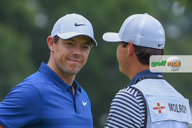Rory McIlroy (NIR) after sinking his par putt on 1 during 4th round of the World Golf Championships - Bridgestone Invitational, at the Firestone Country Club, Akron, Ohio. 8/5/2018.<br /> Picture: Golffile   Ken Murray<br /> <br /> <br /> All photo usage must carry mandatory copyright credit (© Golffile   Ken Murray)