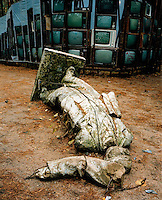 A statue of Vladimir Lenin lies broken on the ground in front of an art display of television sets in an installation in the Europos Park.  The Cold War, which formed part of the collective consciousness of post war Europe from 1945 until 1989 dominated the military and political landscape.  Often highly charged with nationalistic zeal, Soviet rhetoric and paranoia, relics of the Cold War remain as testaments to the covert era within Eastern Europe. CHECK with MRM/FNA