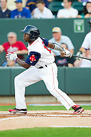 Carolina League All-Star Jackie Bradley Jr. #16 of the Salem Red Sox follows through on his swing against the California League All-Stars during the 2012 California-Carolina League All-Star Game at BB&T Ballpark on June 19, 2012 in Winston-Salem, North Carolina.  The Carolina League defeated the California League 9-1.  (Brian Westerholt/Four Seam Images)