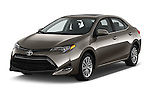 2017 Toyota Corolla LE-Eco-AT 4 Door Sedan Angular Front stock photos of front three quarter view
