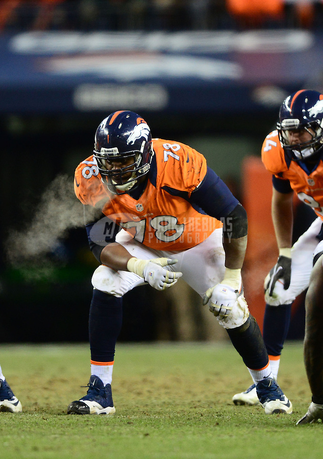 Jan 12, 2013; Denver, CO, USA; Denver Broncos tackle Ryan Clady (78) against the Baltimore Ravens during the AFC divisional round playoff game at Sports Authority Field.  Mandatory Credit: Mark J. Rebilas-