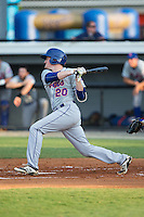 Ian Strom (20) of the Kingsport Mets follows through on his swing against the Burlington Royals at Burlington Athletic Stadium on July 18, 2016 in Burlington, North Carolina.  The Royals defeated the Mets 8-2.  (Brian Westerholt/Four Seam Images)