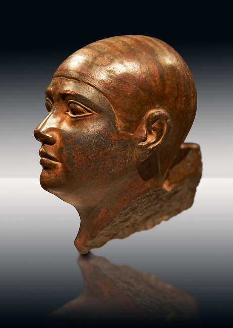 Sculptured Eyyptian  head of a man in Baslt. Fifth. Dynasty 2500 BC.  Altes Reich Egyptian Museum, Berlin