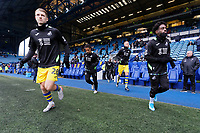 (L-R) George Byers, Wayne Routledge, Mike van der Hoorn and Nathan Dyer of Swansea City prepare to warm up prior to the Sky Bet Championship match between Sheffield Wednesday and Swansea City at Hillsborough Stadium, Sheffield, England, UK. Saturday 09 November 2019