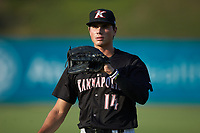 Kannapolis Intimidators right fielder Craig Dedelow (14) warms up in the outfield prior to the game against the Hagerstown Suns at Kannapolis Intimidators Stadium on July 16, 2018 in Kannapolis, North Carolina. The Intimidators defeated the Suns 7-6. (Brian Westerholt/Four Seam Images)