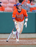 Mike Freeman (5) hits in a game between the Charlotte 49ers and Clemson Tigers Feb. 20, 2009, at Doug Kingsmore Stadium in Clemson, S.C. (Photo by: Tom Priddy/Four Seam Images)