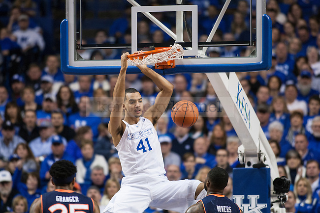 Forward Trey Lyles of the Kentucky Wildcats slams home a dunk during the game against the Auburn Tigers at Rupp Arena on Saturday, February 21, 2015 in Lexington, Ky. Kentucky defeated Auburn 110-75. Photo by Michael M Reaves | Staff.